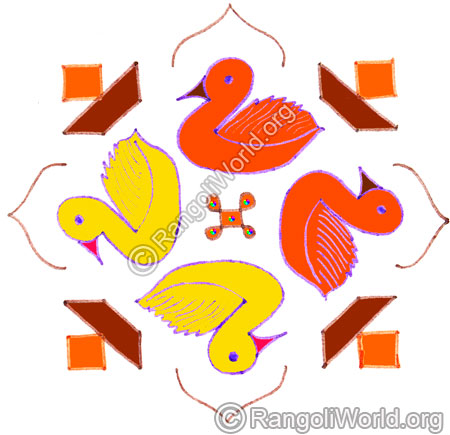 Duck and vilakku kolam april24 2015