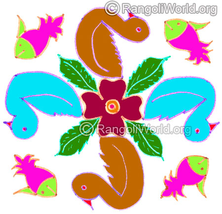 Duck flowers and fish kolam april24 2015