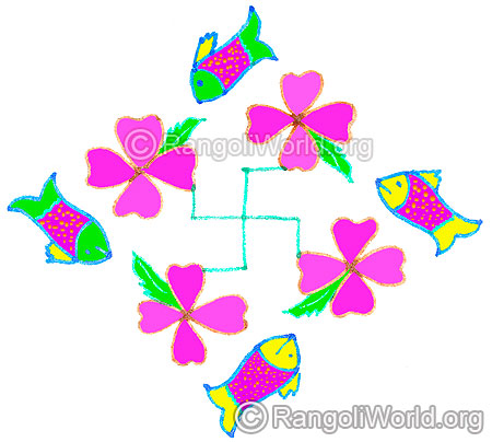 Fish and flowers kolam april24 2015
