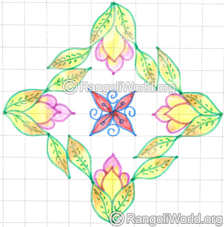 Flower and leaf kolam may8 2015