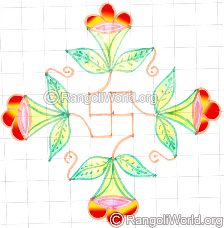 Flower leaves swastik puja kolam may8 2015