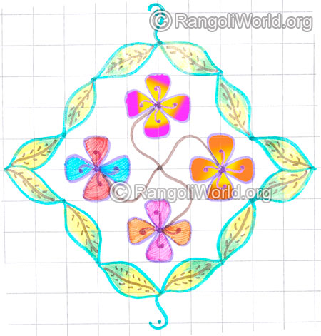 Flowers and leaf kolam may8 2015