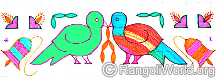 Love birds and temple bell vilakku kolam