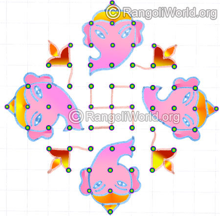 Simple vinayagar deepam pooja kolam aug 2015
