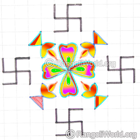 Small swastik karthigai deepam flower kolam may8 2015