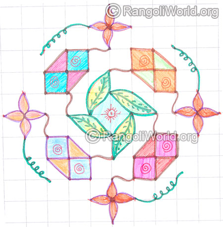 Swastik flower leaf kolam may8 2015