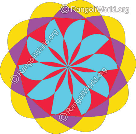 Colorful flower daily rangoli