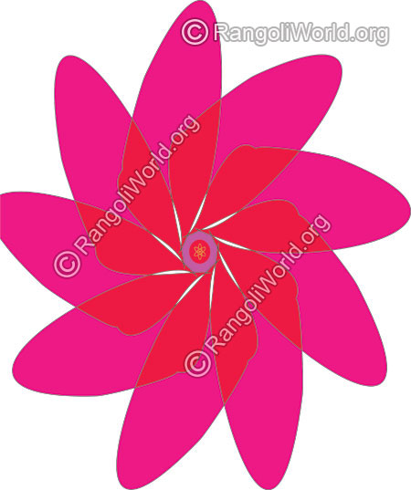 Magenta and red flower daily pooja rangoli