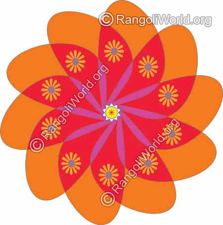 Orange with red mixed flower rangoli