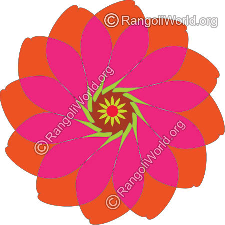 Pink rose buds freehand rangoli