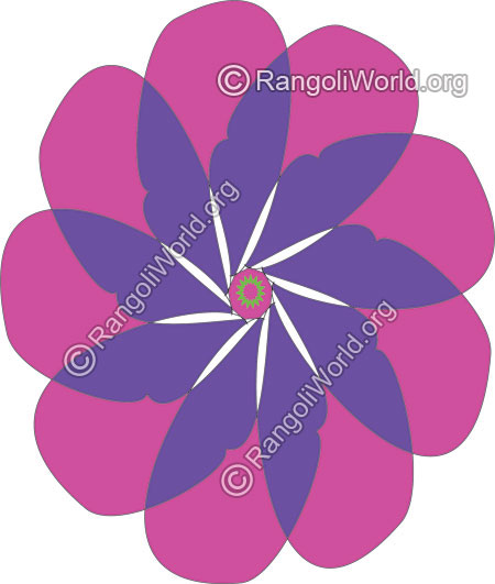 Purple and blue flower easy rangoli