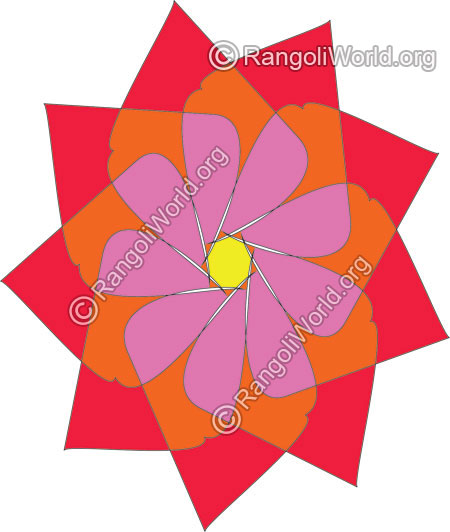 Red orange plum color flower rangoli