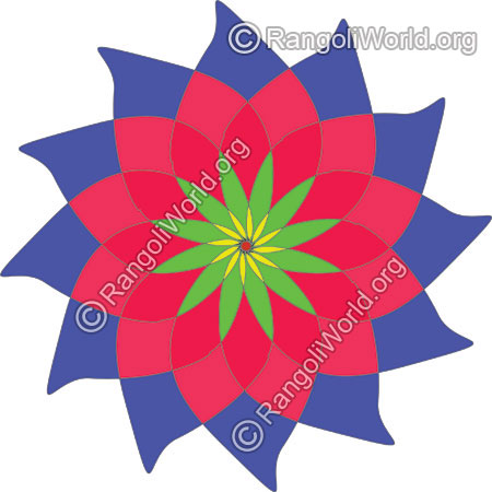 Rose flower buds rangoli for holi festival