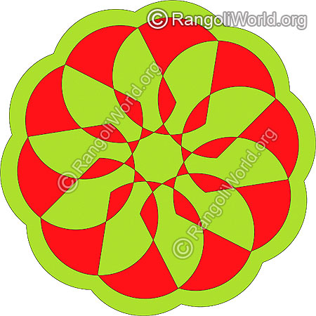 Flower freehand rangoli for home