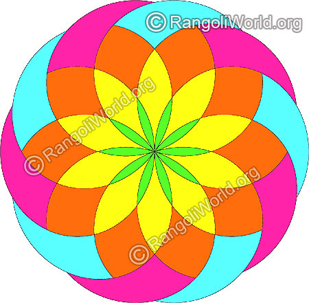 Simple flower freehand rangoli jan9 2015