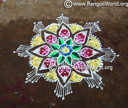 Simple flower rangoli freehand style 2017