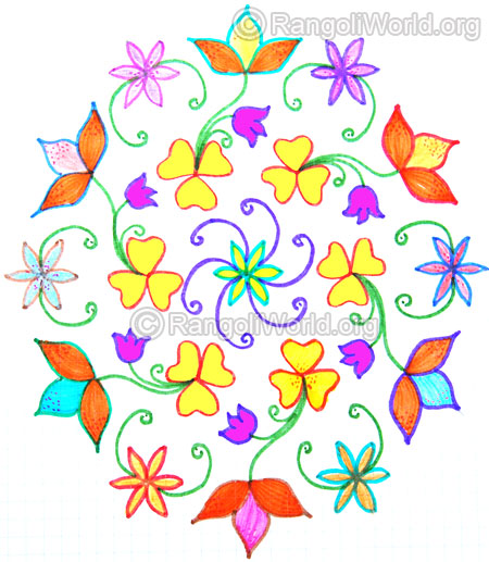 Beautiful flowers kolam oct 2014