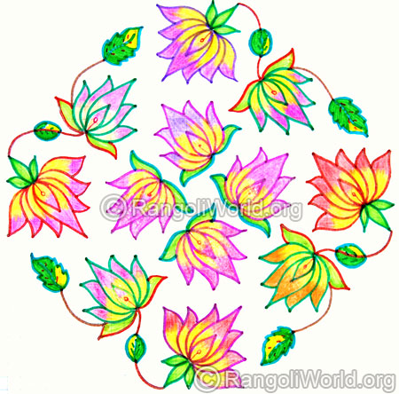 Beautiful lotus kolam oct diwali 2014