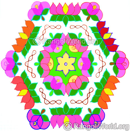 Beautiful rose and lotus kolam oct 2014