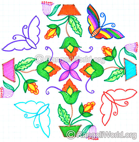Butterflies plant with flowers kolam oct diwali 2014