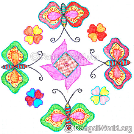 Butterfly flowers kolam oct diwali 2014