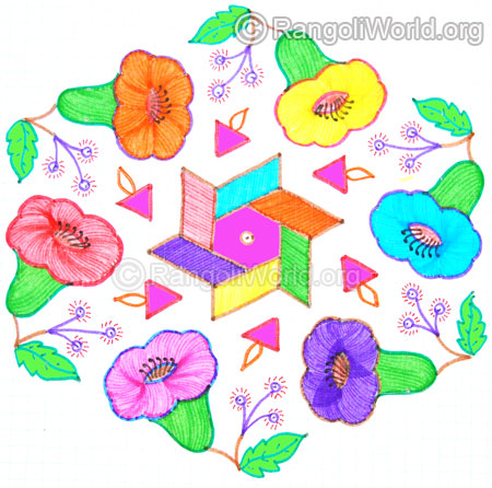 Colourful flowers kolam oct 2014