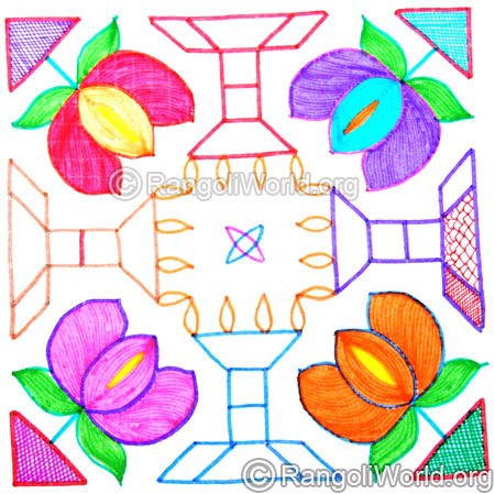 Colourful lotus lamp kolam oct 2014