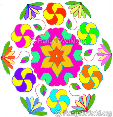 Star and flowers kolam oct 2014