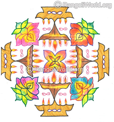 Kuthu vilakku lamp and flowers kolam