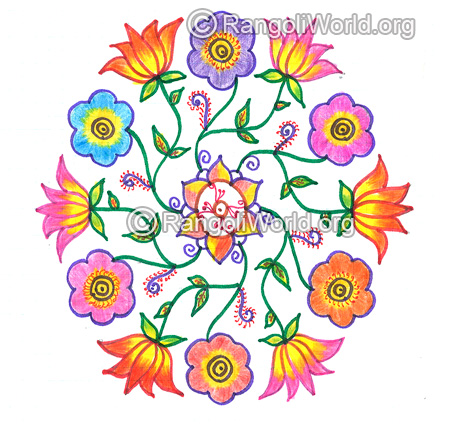 Lotus and flower kolam nov 2015
