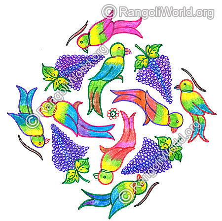 Parrot and grapes kolam nov 2015