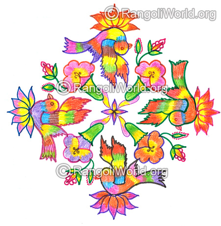 Parrot lotus flowers kolam nov 2015