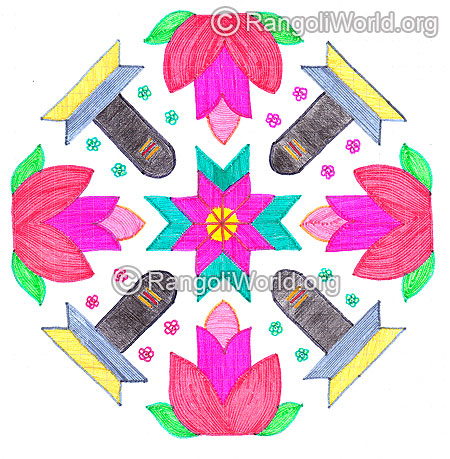 Shiva lingam and flower kolam nov 2015