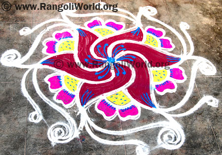 Swastik freehand rangoli dec13