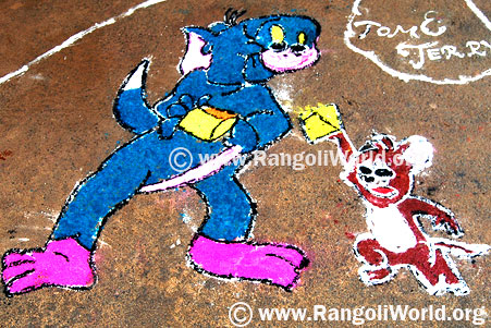 Tom And Jerry Rangoli
