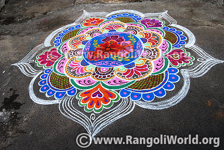Colourful flowers freeehand rangoli for diwali oct 2016