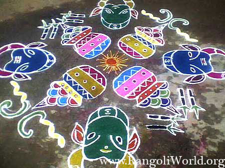 freehand rangoli with cow and pongal pot