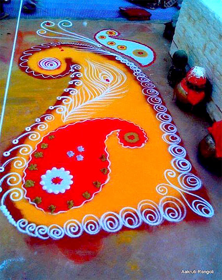 Simple colorful mango design freehand rangoli for holi 2015