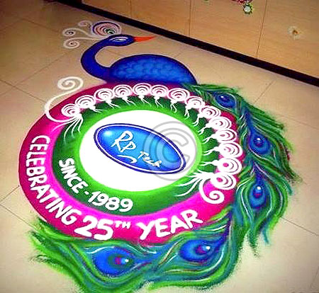 Simple freehand peacock rangoli for holi 2015