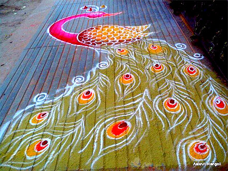Simple street peacock rangoli 2015