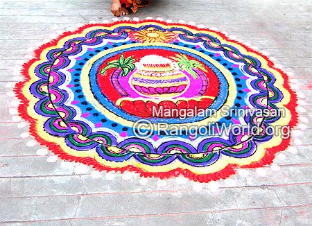 Colorful pongal rangoli 2015