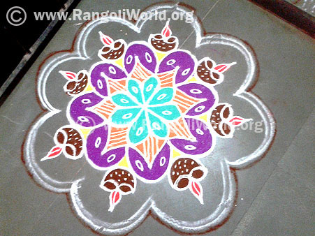 Deepam freehand rangoli-Simple