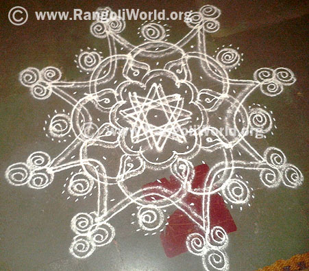 Double Stroke freehand rangoli-Guest contribution