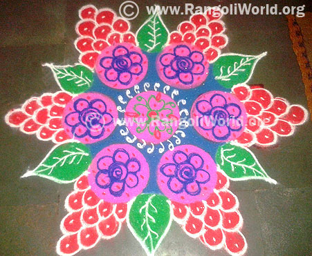 Grape fruit freehand rangoli