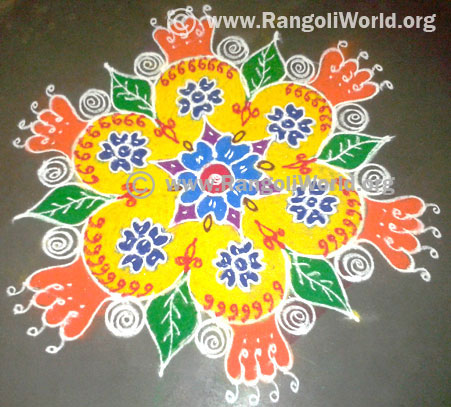 Simple freehand rangoli with flowers and leaf