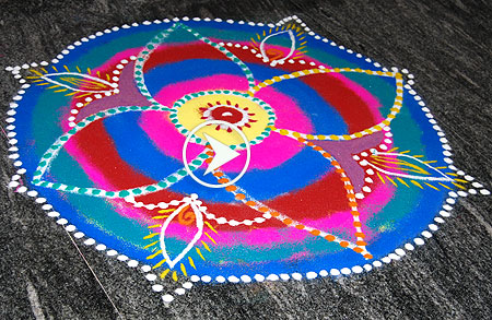 Colorful Rangoli for beginners
