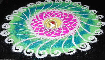 Freehand floral Rangoli Design