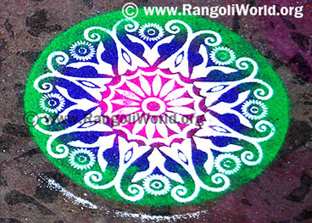 simple freehand rangoli design 1