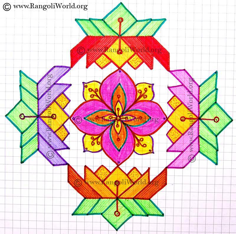 Lotus Kolam,15-1 Parallel Dots Kolam[Neer Pulli Kolam]