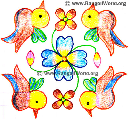 Birds Flower Kolam